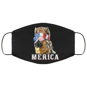 Merica German Shepherd Mullet July 4th American Flag Face Mask