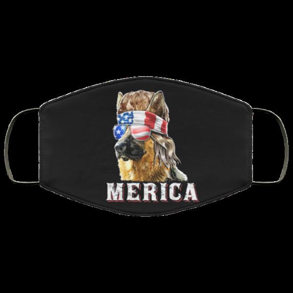 Merica German Shepherd Mullet July 4th American Flag Face Mask