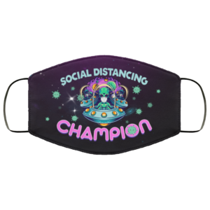 Alien Head Face on UFO Saying Social Distance Champion Face Mask
