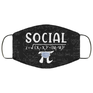 Math Social Distance Equal Pi Forever Funny Face Mask Reusable