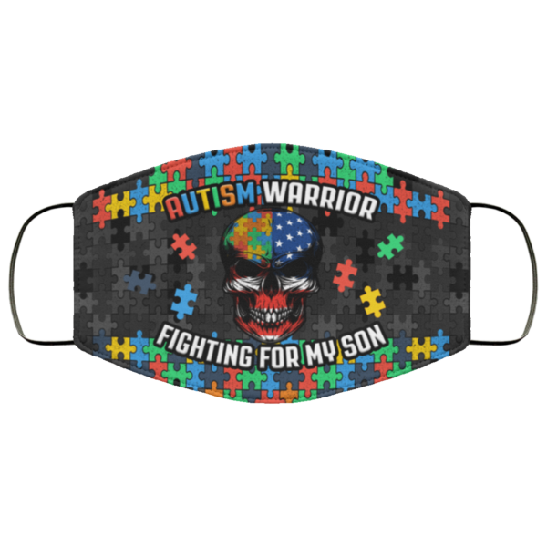 Autism Warrior Fighting For My Son Puzzle Awareness Face Mask