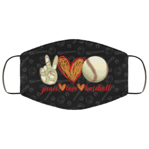 Love Peace Baseball Face Mask Baseball Lovers Facemask