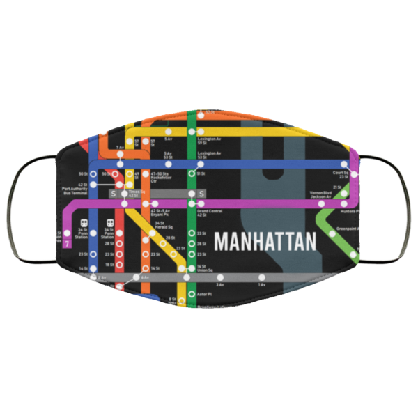 NYC Manhattan Subway Map Face Mask