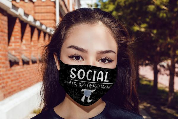 Math Social Distance Equal Pi Forever Face Mask Reusable