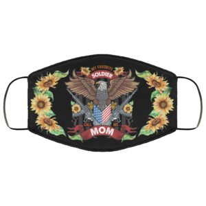 Sunflower My Favorite Soldier Calls Me Mom Face Mask