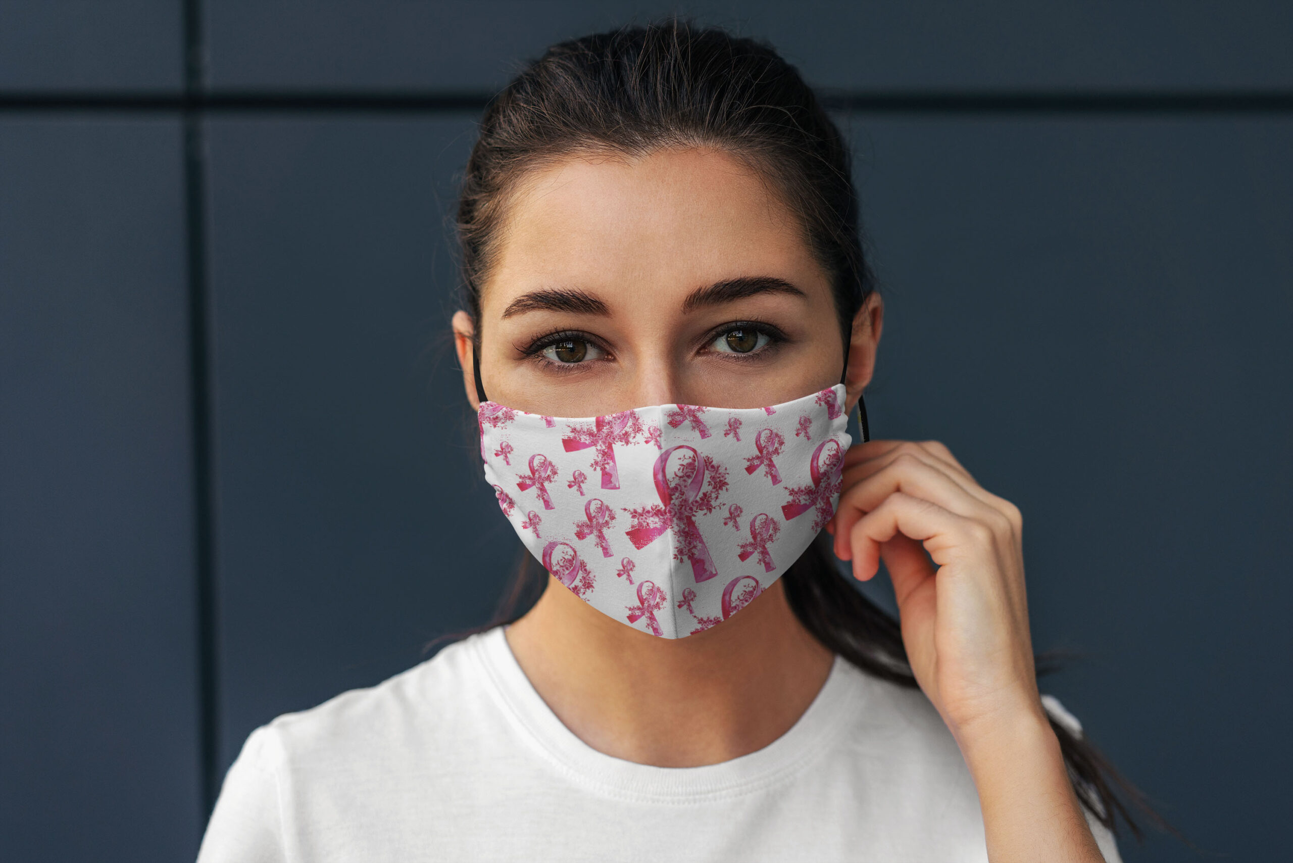 Breast Cancer Ribbon Face Mask Breast Cancer Awareness Face Mask