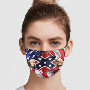 American Flag Blood Inside Me Confederate Flag Reusable Face Mask