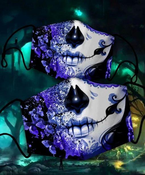 utterfly Skull tattoos Cloth Face Mask Reusable