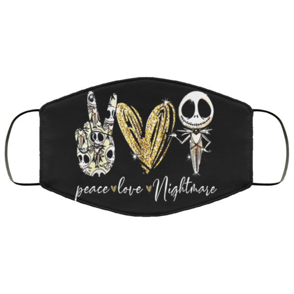 Peace Love Nightmare Jack Skellington Face Mask