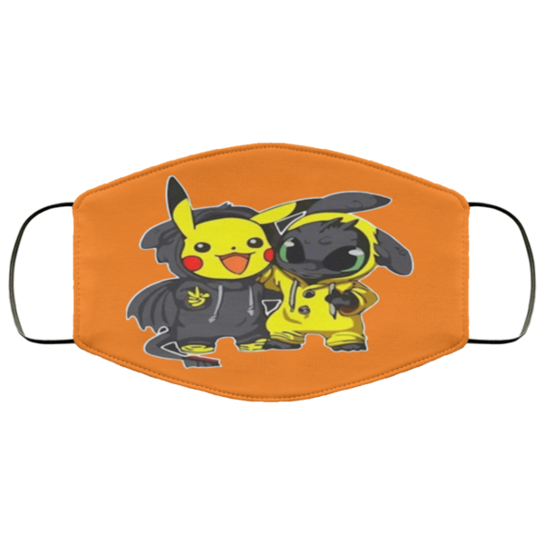 Pikachu And Toothless Face Mask Reusable