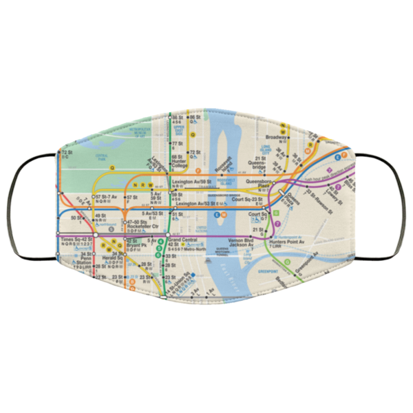 New York City subway map Face Mask Reusable