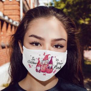 In October We Wear Pink Pumpkin Face Mask
