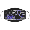 Thin Blue Line K9 Police Dog Paws Back The Blue Face Mask
