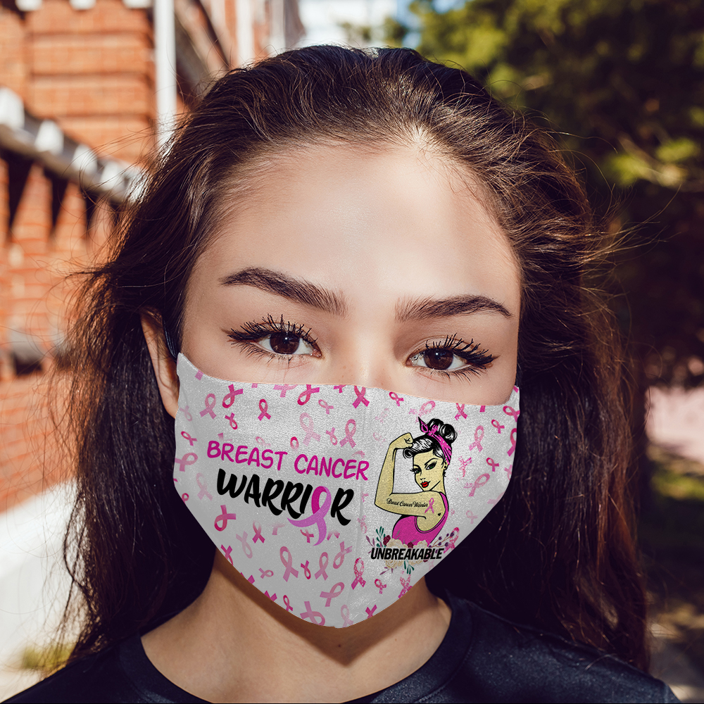 Breast Cancer Warrior Unbreakable Face Mask Breast Cancer Awareness Face Mask