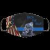 Back The Blue Police Kneeling American Flag Face Mask