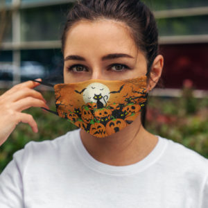 Cute Black Cat Pumpkin Halloween Face Mask