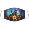 Black Cat Witch Pumpkin Halloween Black Cat Lover Face Mask