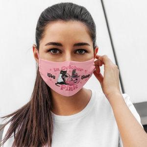 In October We Wear Pink Pumpkin Black Cat Washable Reusable Breast Cancer Awareness Face Mask