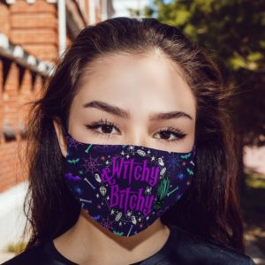 Witchy and Bitchy Halloween Sarcastic Novelty Gifts Face Mask