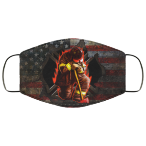 Firefighter Kneeling Stand For The Flag American Flag Face Mask