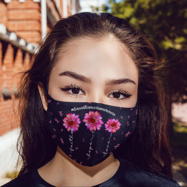 Pink Ribbon Faith Hope Love Breast Cancer Awareness Face Mask