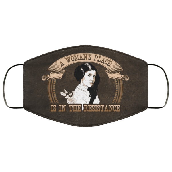 A Womans Place Is in the Resistance Leia Face Mask