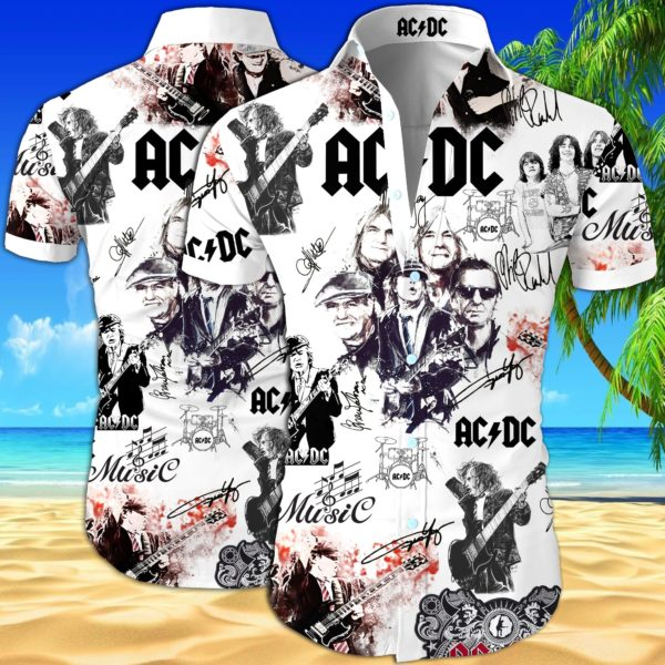 ACDC Summer Short Sleeve Hawaiian Beach Shirt