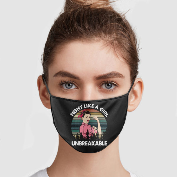 Breast Cancer Fight Like A Girl Unbreakable Cloth Face Mask Reusable