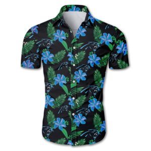 Carolina panthers tropical flower Hawaiian Beach Shirt