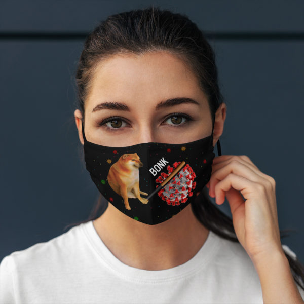 Cheems Virums Bonk Dog Hitting Virus Face Mask