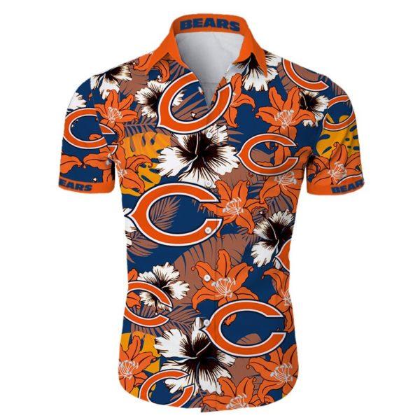 Chicago bears tropical flower Hawaiian Beach Shirt