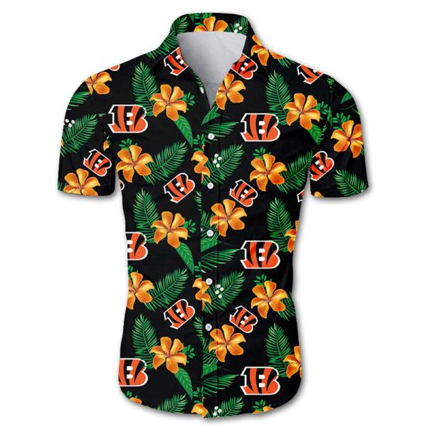 Cincinnati bengals tropical flower Hawaiian Beach Shirt