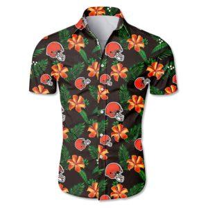 Cleveland browns tropical flower Hawaiian Beach Shirt