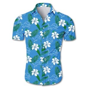 Detroit lions tropical flower Hawaiian Beach Shirt