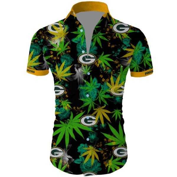 Green bay packers cannabis Summer Short Sleeve Hawaiian Beach Shirt