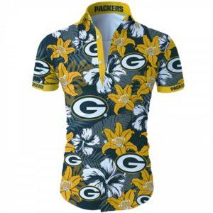 Green bay packers tropical flower Hawaiian Beach Shirt