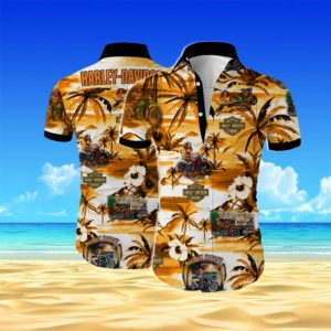 Harley-davidson Summer Short Sleeve Hawaiian Beach Shirt