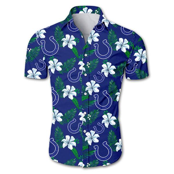 Indianapolis colts tropical flower Hawaiian Beach Shirt