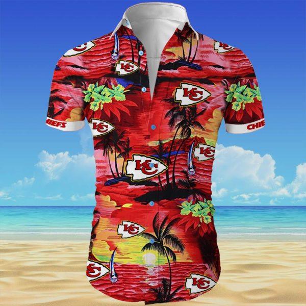 Kansas city chiefs cannabis Summer Short Sleeve Hawaiian Beach Shirt