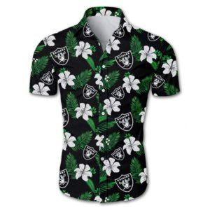 Las vegas raiders tropical flower Hawaiian Beach Shirt