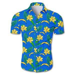 Los angeles chargers tropical flower Hawaiian Beach Shirt
