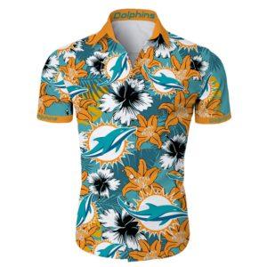 Miami dolphins tropical flower Hawaiian Beach Shirt