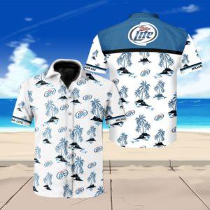 Miller lite beer floral hawaiian shirt 1
