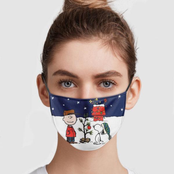 Snoopy And Charlie Brown Christmas Cloth Face Mask Reusable