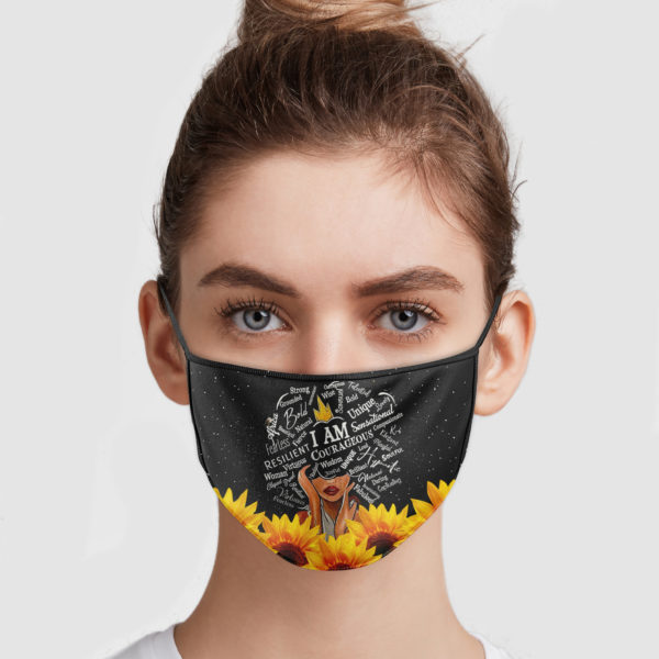 Sunflower I Am Courageous Wisdom Unique Cloth Face Mask Reusable