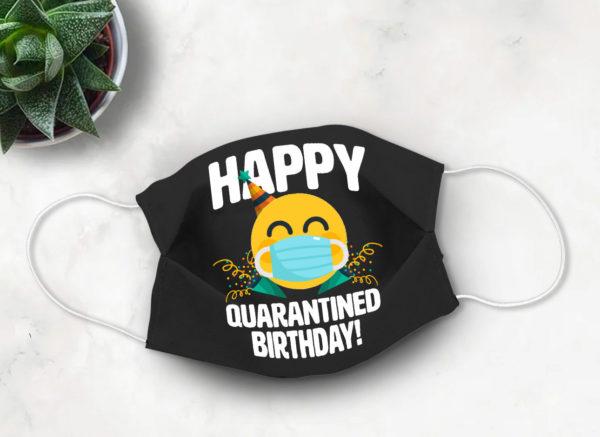 Happy Quarantined Birthday Emoji Face Mask