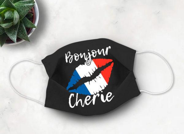 French Flag Face Mask French Lips Bonjour Cherie 2020 Face Mask