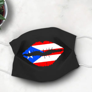 Puerto Rican Flag Lips Hola Face Mask