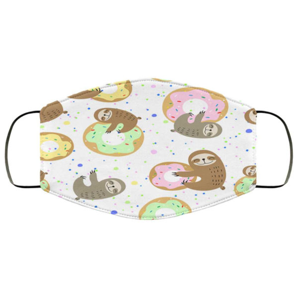 Cute Sloth and Donuts Face Mask