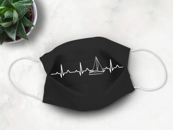 Sailing Boat Heartbeat Player Dad Face Mask